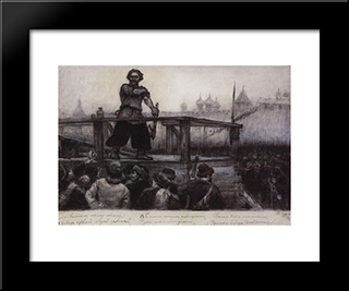 Executioner: Modern Black Framed Art Print by Vasily Surikov