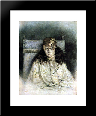 Female Portrait: Modern Black Framed Art Print by Vasily Surikov
