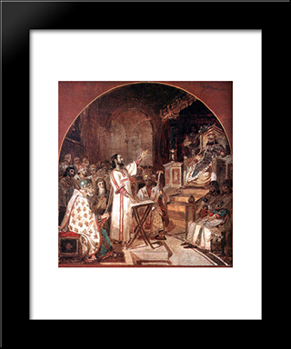 First Ecumenical Council Of Nicaea: Modern Black Framed Art Print by Vasily Surikov