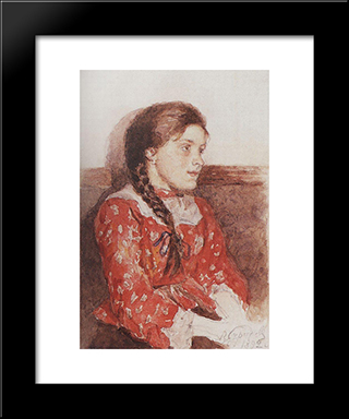 Girl With A Red Jacket: Modern Black Framed Art Print by Vasily Surikov
