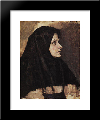Head Of A Woman In Black Shawl: Modern Black Framed Art Print by Vasily Surikov
