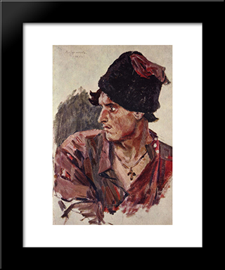 Head Of A Young Cossack: Modern Black Framed Art Print by Vasily Surikov