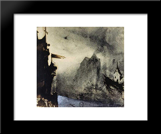 Ermitage Rock In An Imaginary Landscape: Modern Black Framed Art Print by Victor Hugo