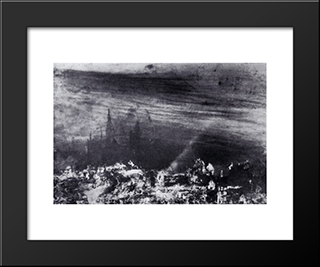 The Dead City: Modern Black Framed Art Print by Victor Hugo