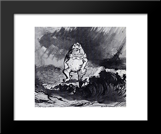 The King Of The Auxcriniers: Modern Black Framed Art Print by Victor Hugo
