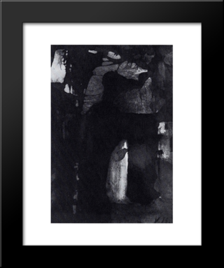 The Mouth Of Darkness: Modern Black Framed Art Print by Victor Hugo