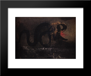 The Snake: Modern Black Framed Art Print by Victor Hugo
