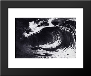 The Wave Or My Destiny: Modern Black Framed Art Print by Victor Hugo