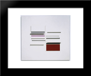 Abstract In White, Black, Indian And Lilac: Modern Black Framed Art Print by Victor Pasmore