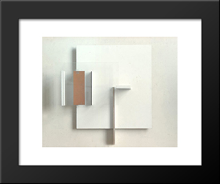 Abstract In White, Black And Ochre: Modern Black Framed Art Print by Victor Pasmore