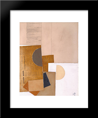 Abstract In White, Grey And Ochre: Modern Black Framed Art Print by Victor Pasmore