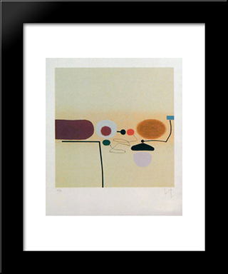 Composite Image Orange And Pink: Modern Black Framed Art Print by Victor Pasmore