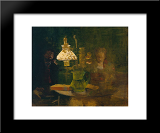 Lamplight: Modern Black Framed Art Print by Victor Pasmore