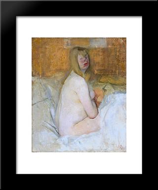 Nude: Modern Black Framed Art Print by Victor Pasmore