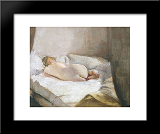 Reclining Nude: Modern Black Framed Art Print by Victor Pasmore
