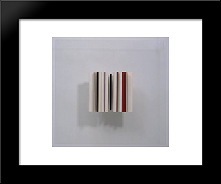 Relief Construction In White, Black And Maroon: Modern Black Framed Art Print by Victor Pasmore