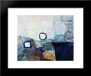 Spiral Development In Green Violet Blue & Gold: Modern Black Framed Art Print by Victor Pasmore