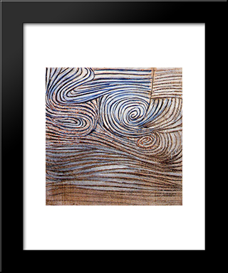 Spiral Motif In White, Black And Indigo: Modern Black Framed Art Print by Victor Pasmore