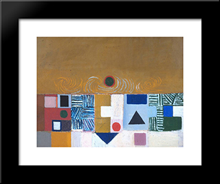 Square Motif, Blue And Gold The Eclipse: Modern Black Framed Art Print by Victor Pasmore