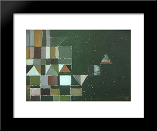 Square Motif Green & Lilac: Modern Black Framed Art Print by Victor Pasmore