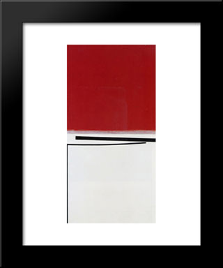 Square Motif In White And Indian Red: Modern Black Framed Art Print by Victor Pasmore