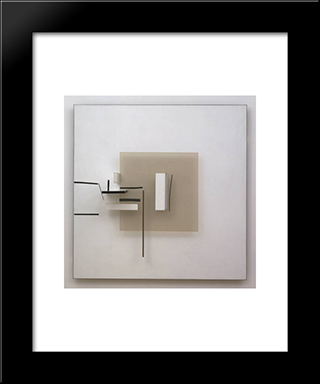 Synthetic Construction (White And Black): Modern Black Framed Art Print by Victor Pasmore