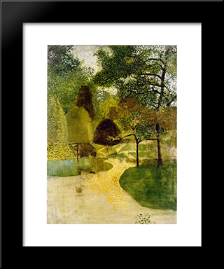 The Park: Modern Black Framed Art Print by Victor Pasmore