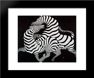 Zebra: Modern Black Framed Art Print by Victor Vasarely
