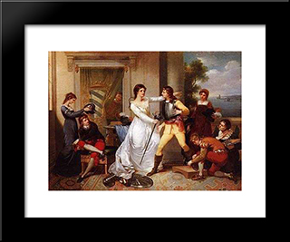 Dona Filipa De Vilhena Knighting Her Sons: Modern Black Framed Art Print by Vieira Portuense