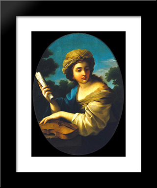 Music'S Allegory: Modern Black Framed Art Print by Vieira Portuense