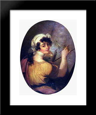 Portrait Of A Woman (Painter): Modern Black Framed Art Print by Vieira Portuense