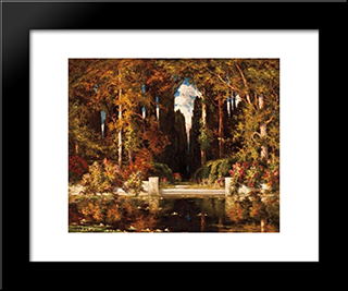 An Italianate Landscape: Modern Black Framed Art Print by Vilhelms Purvitis