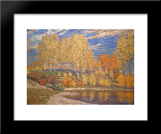 Autumn Sun: Modern Black Framed Art Print by Vilhelms Purvitis
