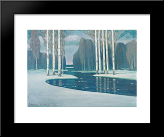 Birch Trees By A River: Modern Black Framed Art Print by Vilhelms Purvitis