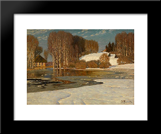 Lake In Early Spring: Modern Black Framed Art Print by Vilhelms Purvitis