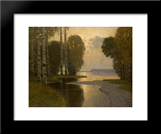Landscape With Birch Trees: Modern Black Framed Art Print by Vilhelms Purvitis