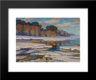 Melting Snow: Modern Black Framed Art Print by Vilhelms Purvitis