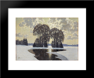 Winter: Modern Black Framed Art Print by Vilhelms Purvitis
