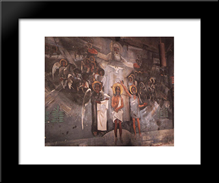 Baptism Of Christ: Modern Black Framed Art Print by Vilmos Aba Novak