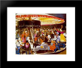Carousel: Modern Black Framed Art Print by Vilmos Aba Novak