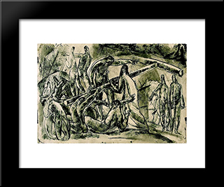 Carrying The Cross: Modern Black Framed Art Print by Vilmos Aba Novak