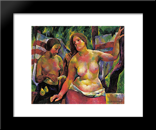 Combing (Woman Combing, The Artist'S Wife): Modern Black Framed Art Print by Vilmos Aba Novak