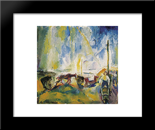 Daylabourers With Wheelbarrows: Modern Black Framed Art Print by Vilmos Aba Novak