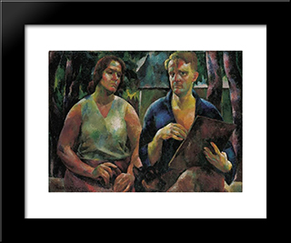 Double Portrait (The Artist And His Wife): Modern Black Framed Art Print by Vilmos Aba Novak