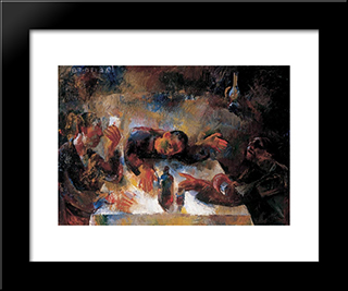 Drinkers (Wine Drinkers): Modern Black Framed Art Print by Vilmos Aba Novak