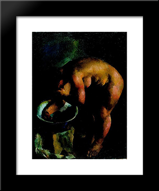Eta Is Bathing: Modern Black Framed Art Print by Vilmos Aba Novak