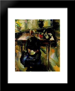 Kitchen (In The Kitchen, Room Interior): Modern Black Framed Art Print by Vilmos Aba Novak