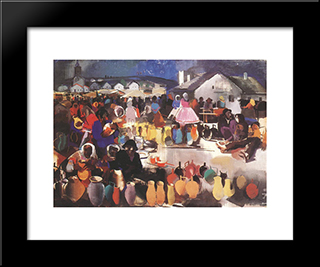 Market Of Ceramics: Modern Black Framed Art Print by Vilmos Aba Novak