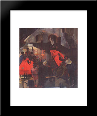 Pub: Modern Black Framed Art Print by Vilmos Aba Novak