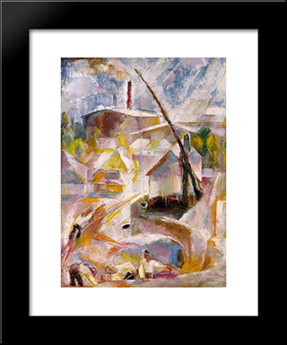 Sand Mine (Igal): Modern Black Framed Art Print by Vilmos Aba Novak